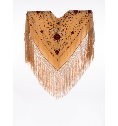 Natural silk hand embroidered shawl MD84