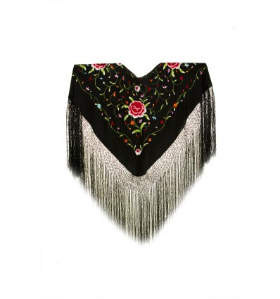 Natural silk hand embroidered shawl MD46