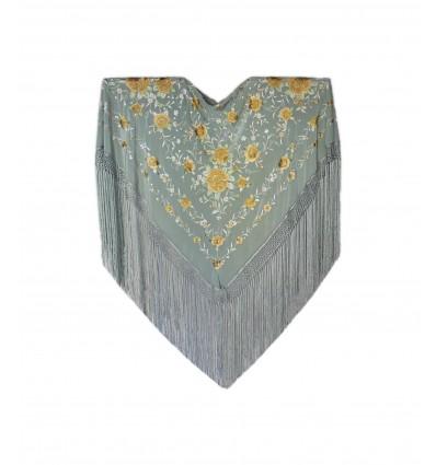 Natural silk hand embroidered shawl J490