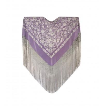 Natural silk hand embroidered shawl G359