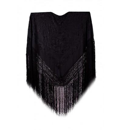 Natural silk hand embroidered shawl G41
