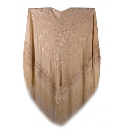 Natural silk hand embroidered shawl G85