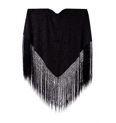 Natural silk hand embroidered shawl G96