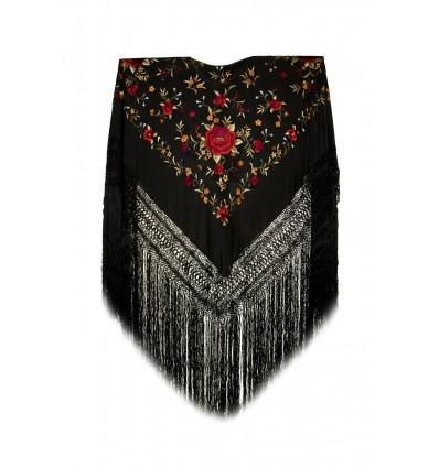 Natural silk hand embroidered shawl G112