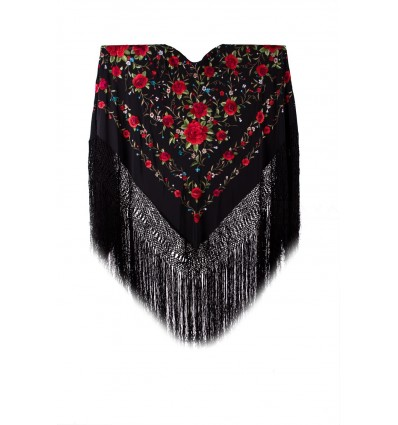 Natural silk hand embroidered shawl G114