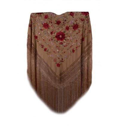 Natural silk hand embroidered shawl G254
