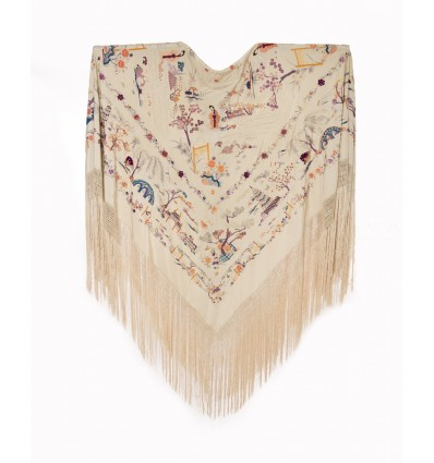 Natural silk hand embroidered antique shawl M.ANT-12