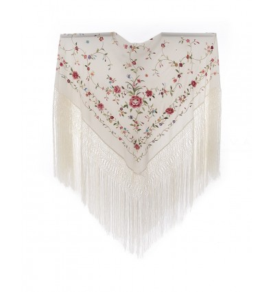 Natural silk hand embroidered shawl G301