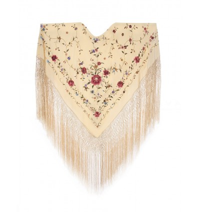 Natural silk hand embroidered shawl G301