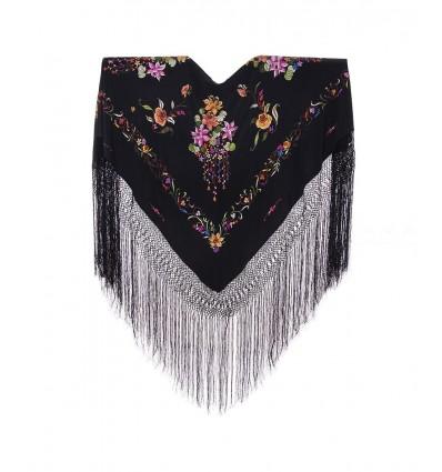 Natural silk hand embroidered shawl G312