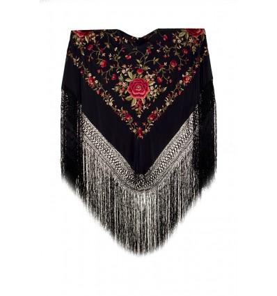 Natural silk hand embroidered shawl G313