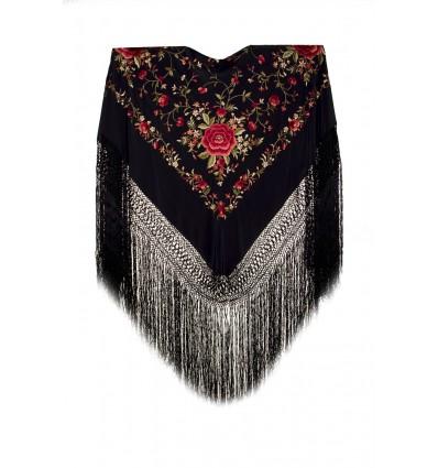 Natural silk hand embroidered shawl G313