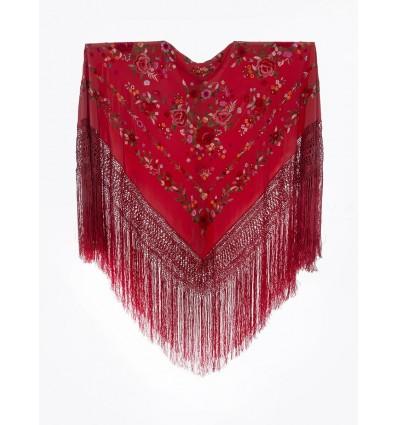 Natural silk hand embroidered shawl G319