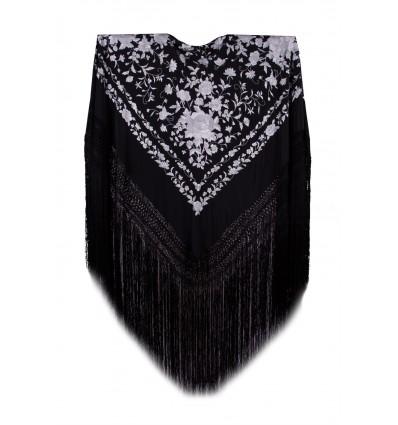 Natural silk hand embroidered shawl G356
