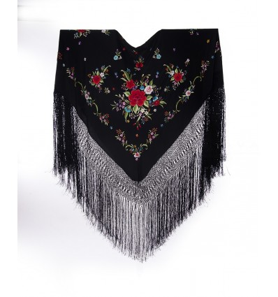 Natural silk hand embroidered shawl G365