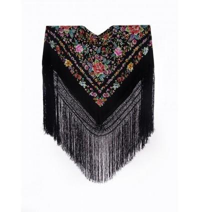 Natural silk hand embroidered shawl G375
