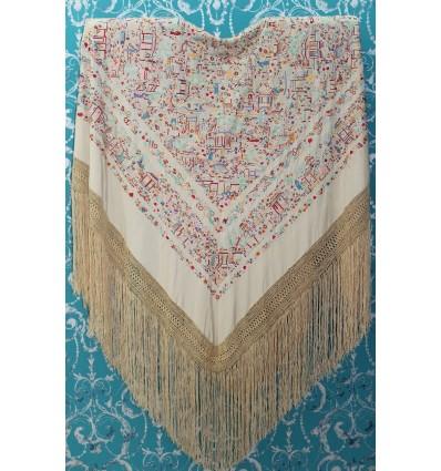 Mantón antiguo seda natural bordado a mano M.ANT-24