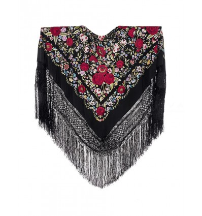Natural silk hand embroidered shawl G384