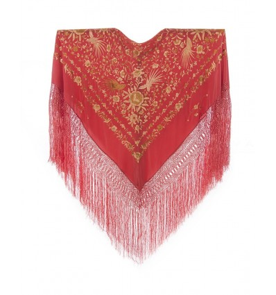 Natural silk hand embroidered shawl G389