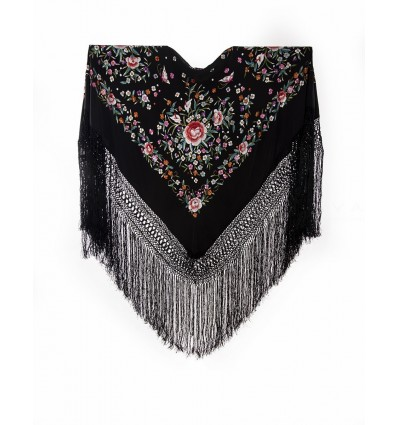 Natural silk hand embroidered shawl G390