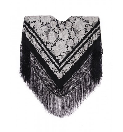 Natural silk hand embroidered shawl G391