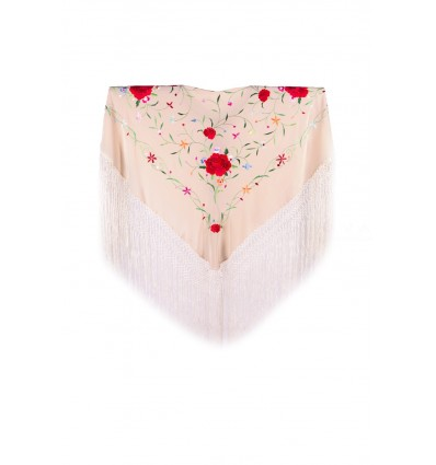 Natural silk hand embroidered shawl MA