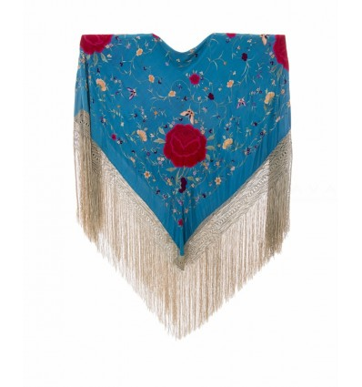 Natural silk hand embroidered antique shawl M.ANT-36