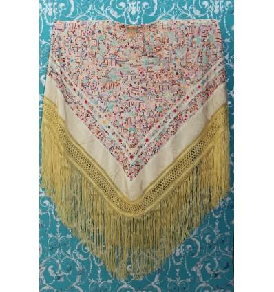 Mantón antiguo seda natural bordado a mano M.ANT-55