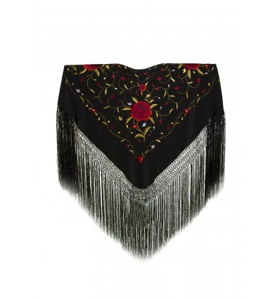 Natural silk hand embroidered shawl MD2