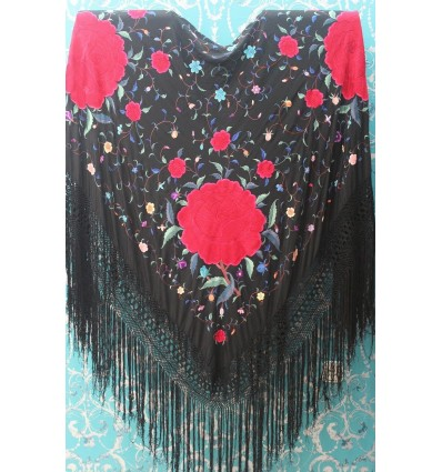 Natural silk hand embroidered antique shawl M.ANT-58